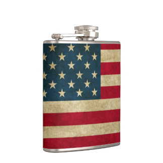 Distressed Grunge American Flag Hip Flask