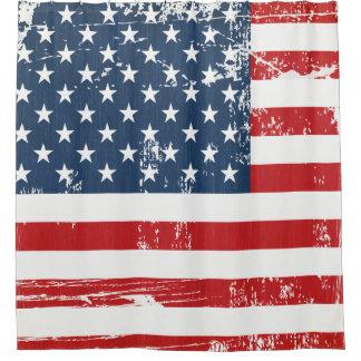 Distressed Grunge American Flag Old Vintage Look Shower Curtain