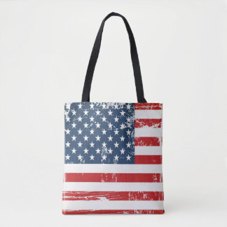 Distressed Grunge American Flag Old Vintage Look Tote Bag