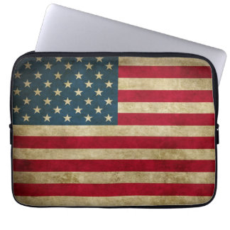 Distressed Grunge USA American Flag Laptop Sleeve