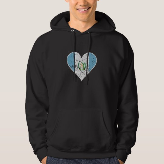 Distressed Guatemalan Flag Heart Hoodie