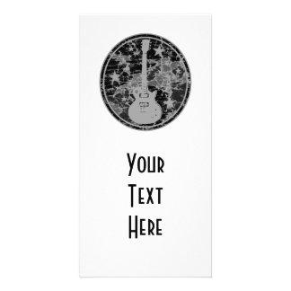 Distressed Guitar Stars Cameo Silhouette Dark BW Photo Card Template