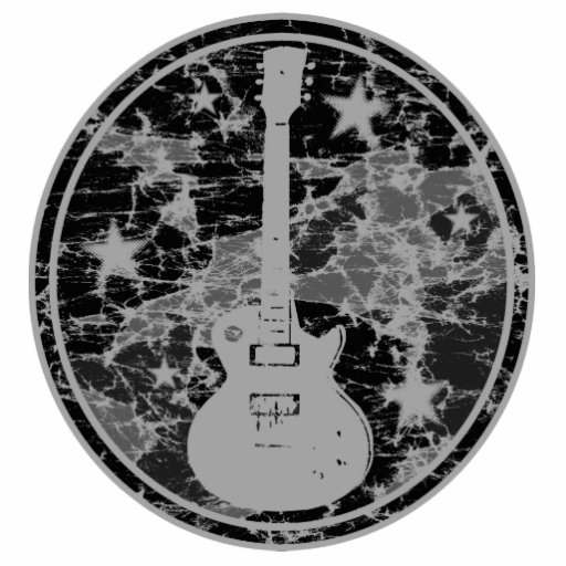 Distressed Guitar Stars Cameo Silhouette Dark BW Photo Cutout