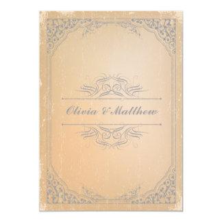Distressed gunmetal grey vintage scroll wedding custom invitations