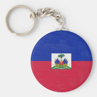 Distressed Haitian flag Basic Round Button Key Ring