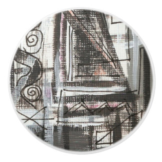 Distressed-Hand Painted Abstract Brushstrokes Ceramic Knob