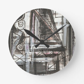 Distressed-Hand Painted Abstract Brushstrokes Round Clock