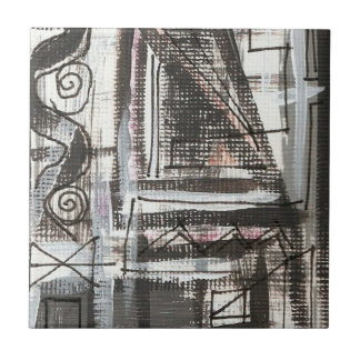 Distressed-Hand Painted Abstract Brushstrokes Tile