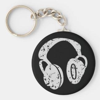 Distressed Headphones Basic Round Button Key Ring