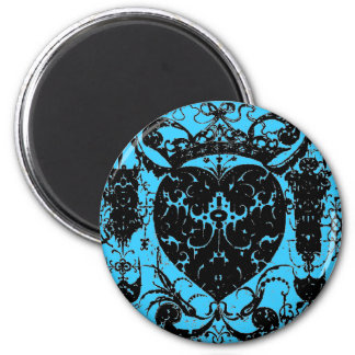 Distressed Heart Crown Graphic Art Damask Style 6 Cm Round Magnet