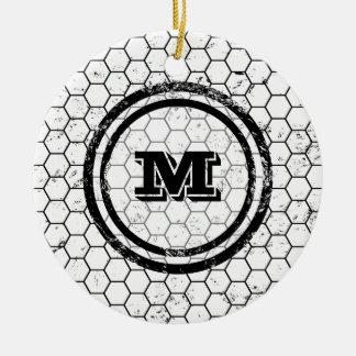 Distressed Honeycomb Monogram Geometric Round Ceramic Decoration