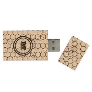 Distressed Honeycomb Monogram Geometric Wood USB 2.0 Flash Drive