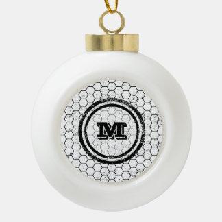 Distressed Honeycomb Monogram Pattern Ceramic Ball Decoration