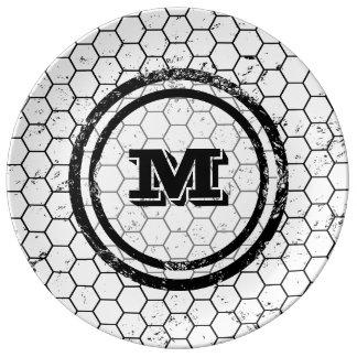 Distressed Honeycomb Monogram Pattern Porcelain Plates