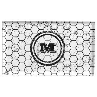 Distressed Honeycomb Monogram Pattern Table Card Holder