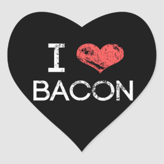 """Distressed """"I Love Bacon"""" Heart Stickers"""
