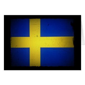 Distressed Image Swedish Flag Greeting Card
