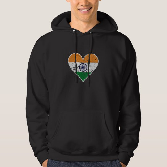 Distressed Indian Flag Heart Hoodie