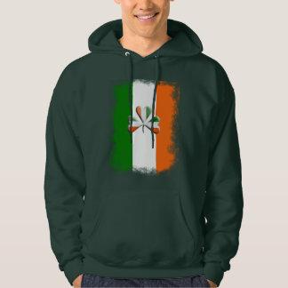 Distressed Irish Flag Tri Colors Themed Shamrock Hoodie