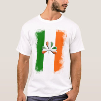 Distressed Irish Flag Tri Colours Themed Shamrock T-Shirt