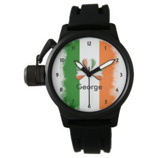 Distressed Irish Tri Colours Shamrock Personalised Wrist Watch