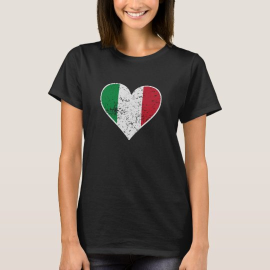 Distressed Italian Flag Heart T-Shirt