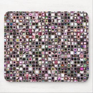 Distressed Jewel Tones Textured Grid Pattern Mouse Pad