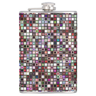 Distressed Jewel Tones Textured Tiles Pattern Hip Flask