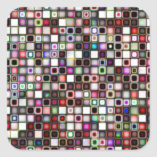 Distressed Jewel Tones Textured Tiles Pattern Square Sticker