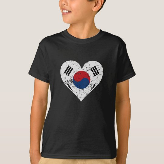 Distressed Korean Flag Heart T-Shirt