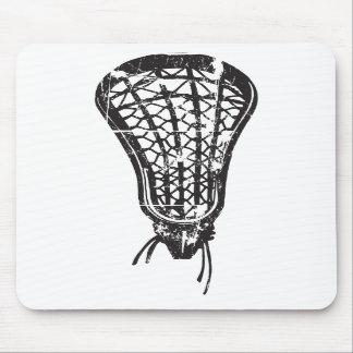 Distressed Lacrosse Stick Black Mousepads