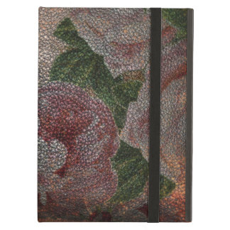Distressed Leather Vintage Victorian Pink Roses Cover For iPad Air