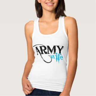 Distressed Lettering Army Wife Singlet