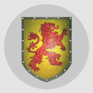 Distressed Look Red Lion Yellow Shield Classic Round Sticker