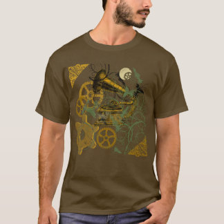 Distressed Look Steampunk Design T-Shirt