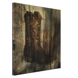 Distressed Man Cave Western Country Cowboy Boot Canvas Print