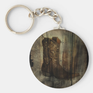 Distressed Man Cave Western Country Cowboy Boot Key Ring