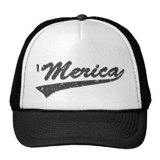 Distressed 'MERICA Swoosh Trucker Hat (Black)
