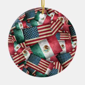 Distressed Mexican/American Flags  - US & Mexican Ceramic Ornament