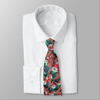 Distressed Mexican/American Flags  - US & Mexican Tie