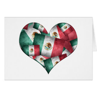 Distressed Mexican Flags - Heart Shape Card