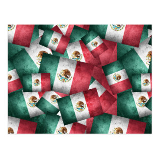 Distressed Mexican Flags Postcard