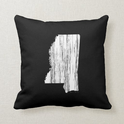 Distressed Mississippi State Outline Throw Pillows
