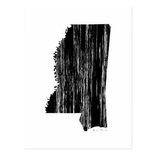 Distressed Mississippi State Outline Post Cards