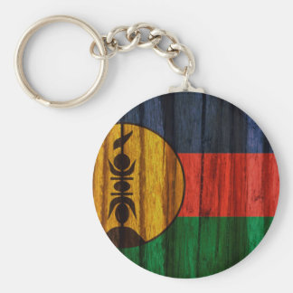 Distressed New Caledonia Flag Basic Round Button Key Ring