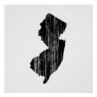 Distressed New Jersey State Outline Print