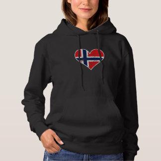 Distressed Norwegian Flag Heart Hoodie
