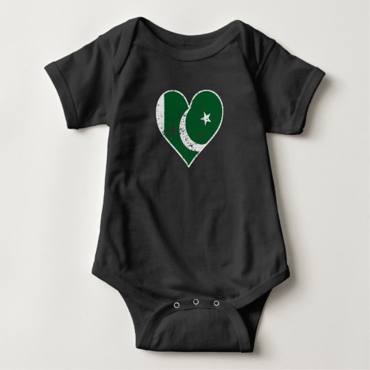 Distressed Pakistani Flag Heart Baby Bodysuit
