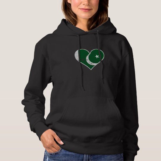 Distressed Pakistani Flag Heart Hoodie