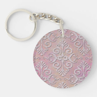 Distressed Pale Pink Damask Single-Sided Round Acrylic Key Ring
